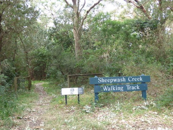 Sheepwash Cr track sign WP